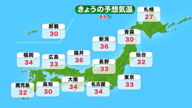 全国の天気 気温