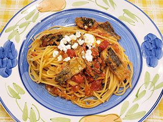 アジのトマトスパゲッティ