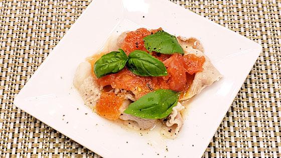 豚肉のトマトドレッシング・バジル風味
