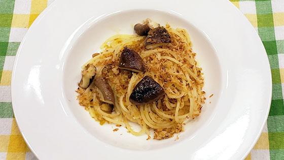 しいたけとパン粉のスパゲッティ